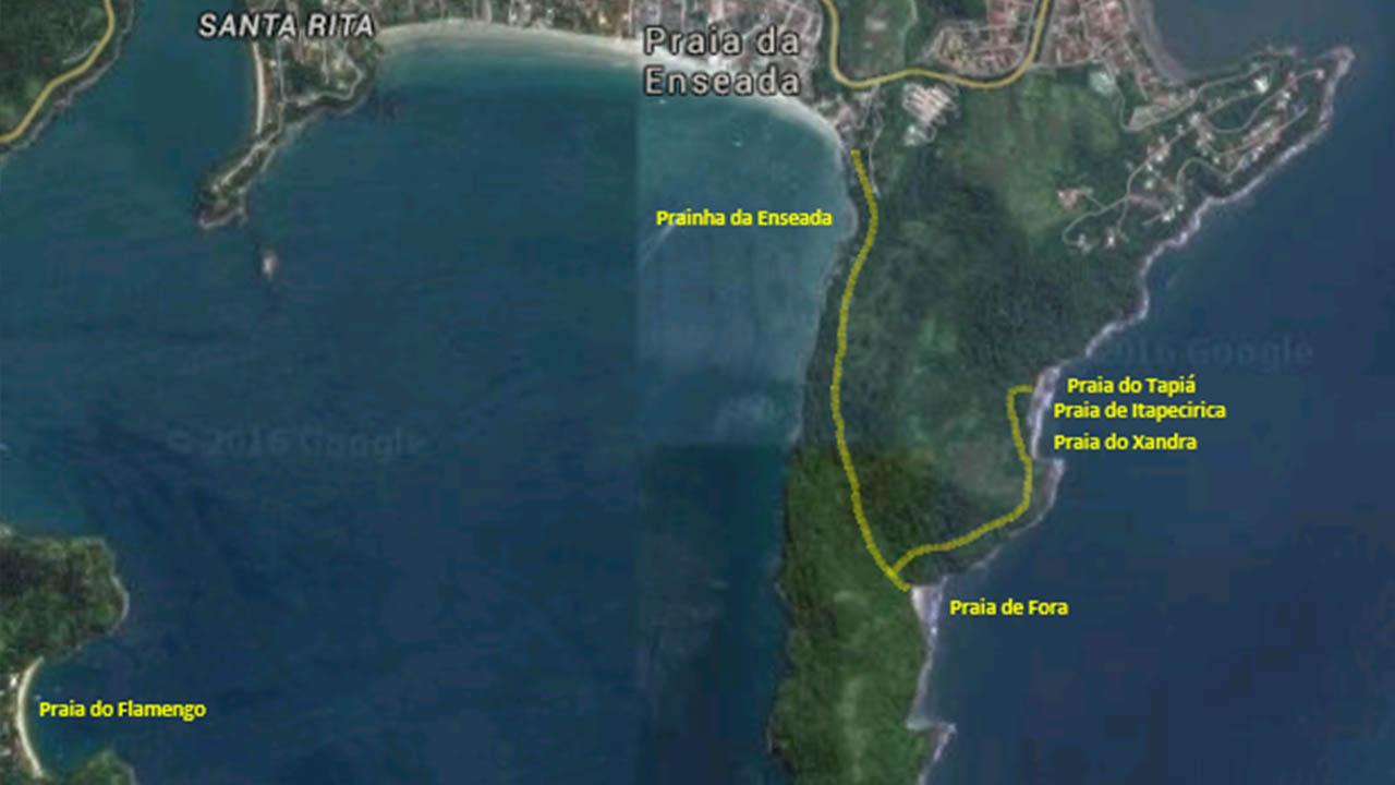 Mapa da Trilha da Ponta da Espia